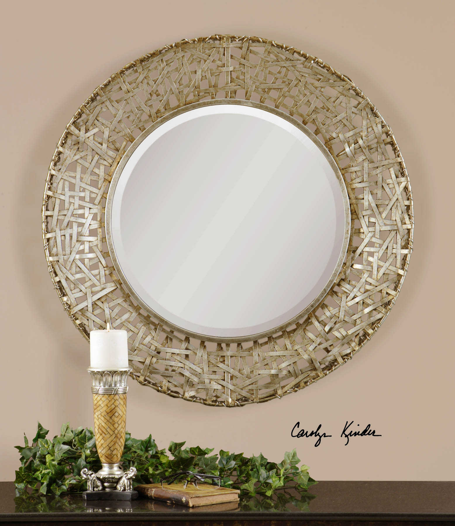 Alita Champagne Woven Metal Mirror Carolyn Kinder