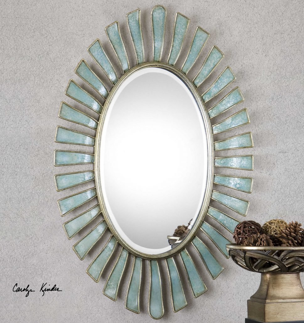 Morvoren Blue-Grey Oval Mirror