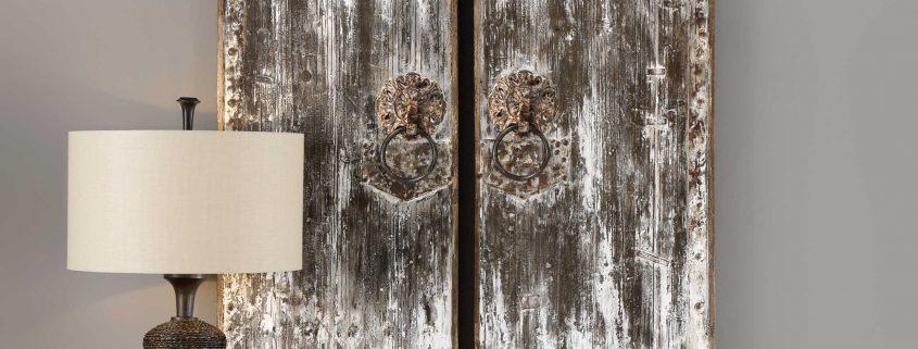 Giles Aged Wood Barn Door Art