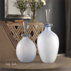 Leah Pale Blue Bubble Glass Bottles