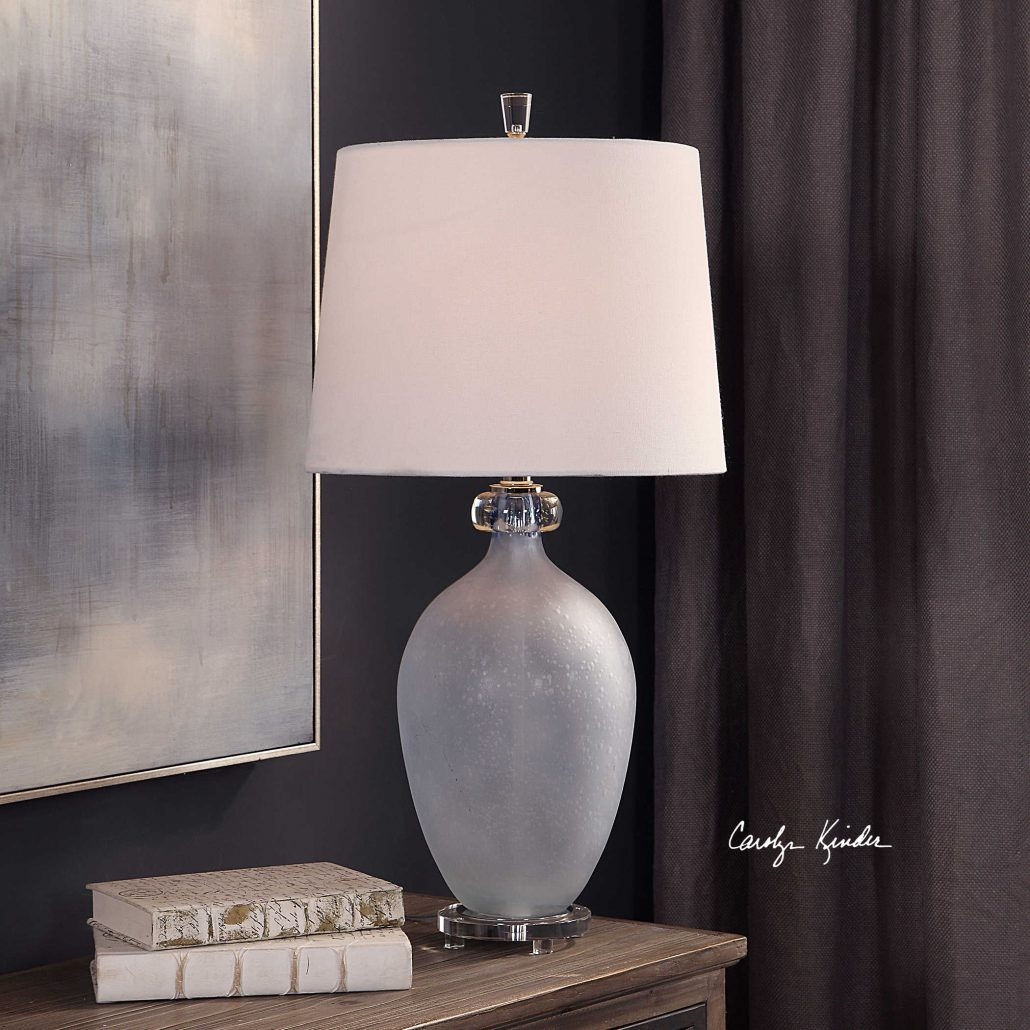 Leah Pale Blue Glass Lamp