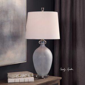 Leah Pale Blue Glass Lamp