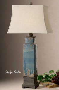 Soprana Distressed Blue Glazed Lamp