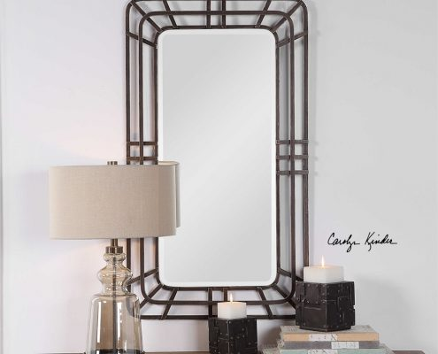 Alston distressed iron mirror