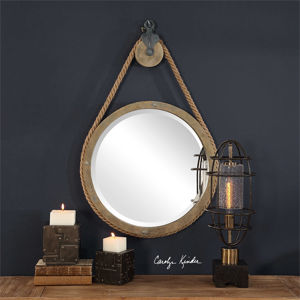 Mirror, aged, natural wood, nail heads, antique, black, Uttermost, High Point Market, Modern Country, Industrial