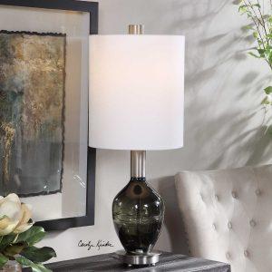 15. Aderia Sage Green Art Glass Lamp