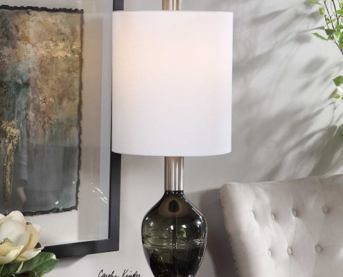 15. Aderia Sage Green Art Glass Lamp