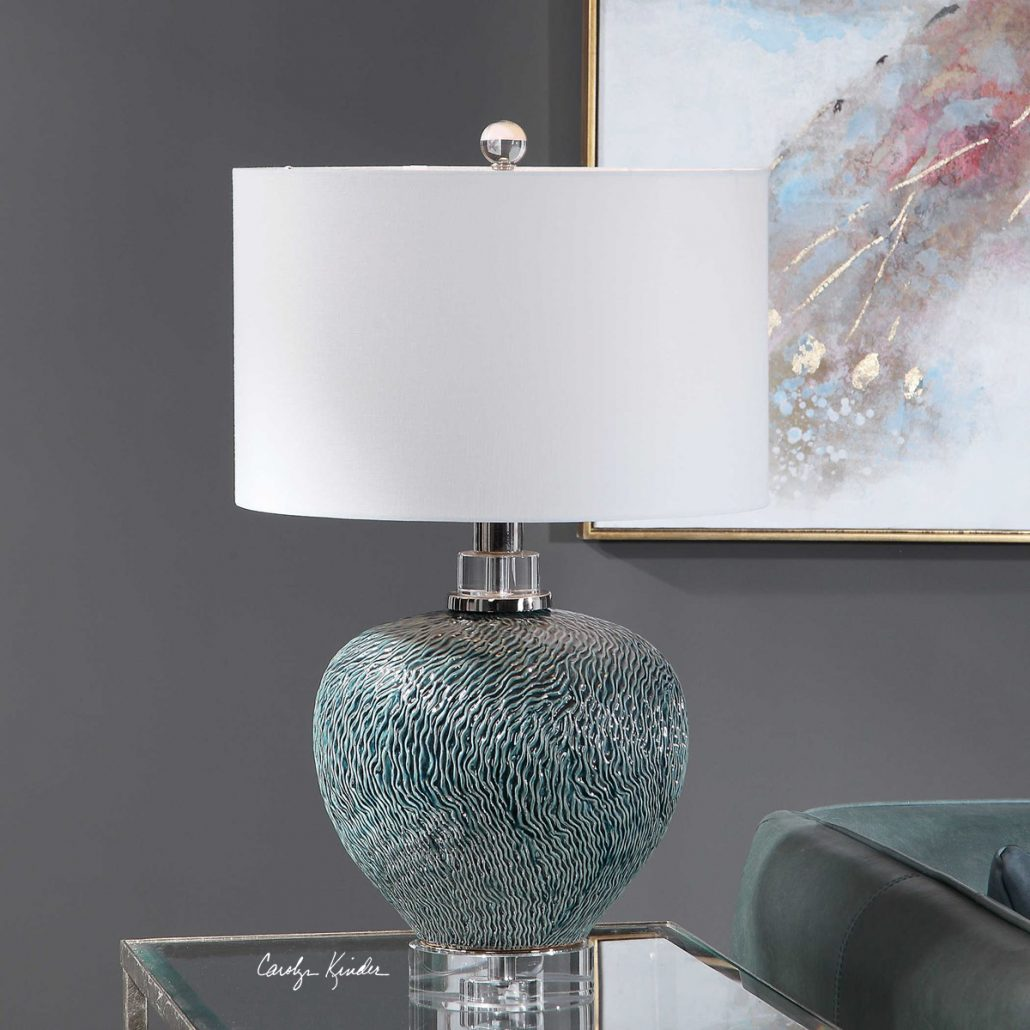 Almera Teal Table Lamp
