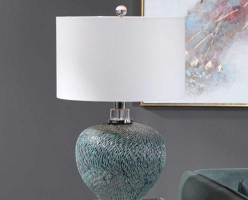 Almera Teal Table Lamp