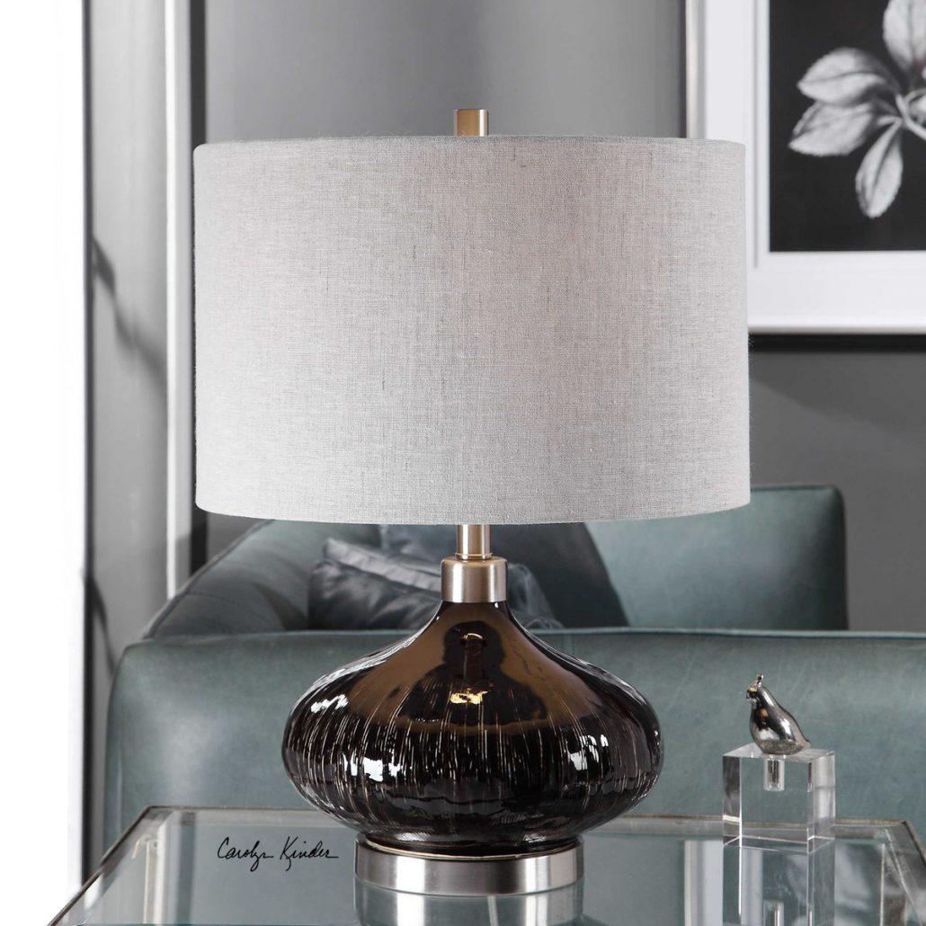 Ampara Black Glass Lamp