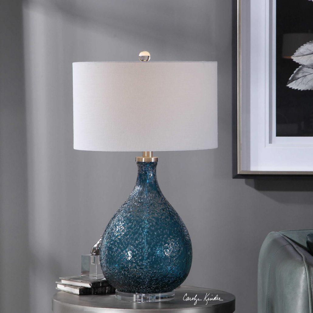 Eline Cerulean Blue Glass Lamp