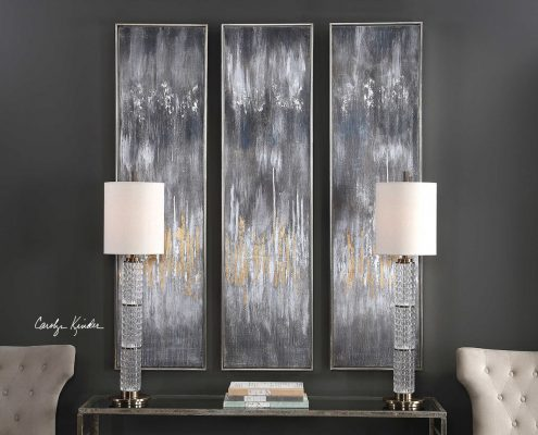 Grey Showers Hand Painted Canvases