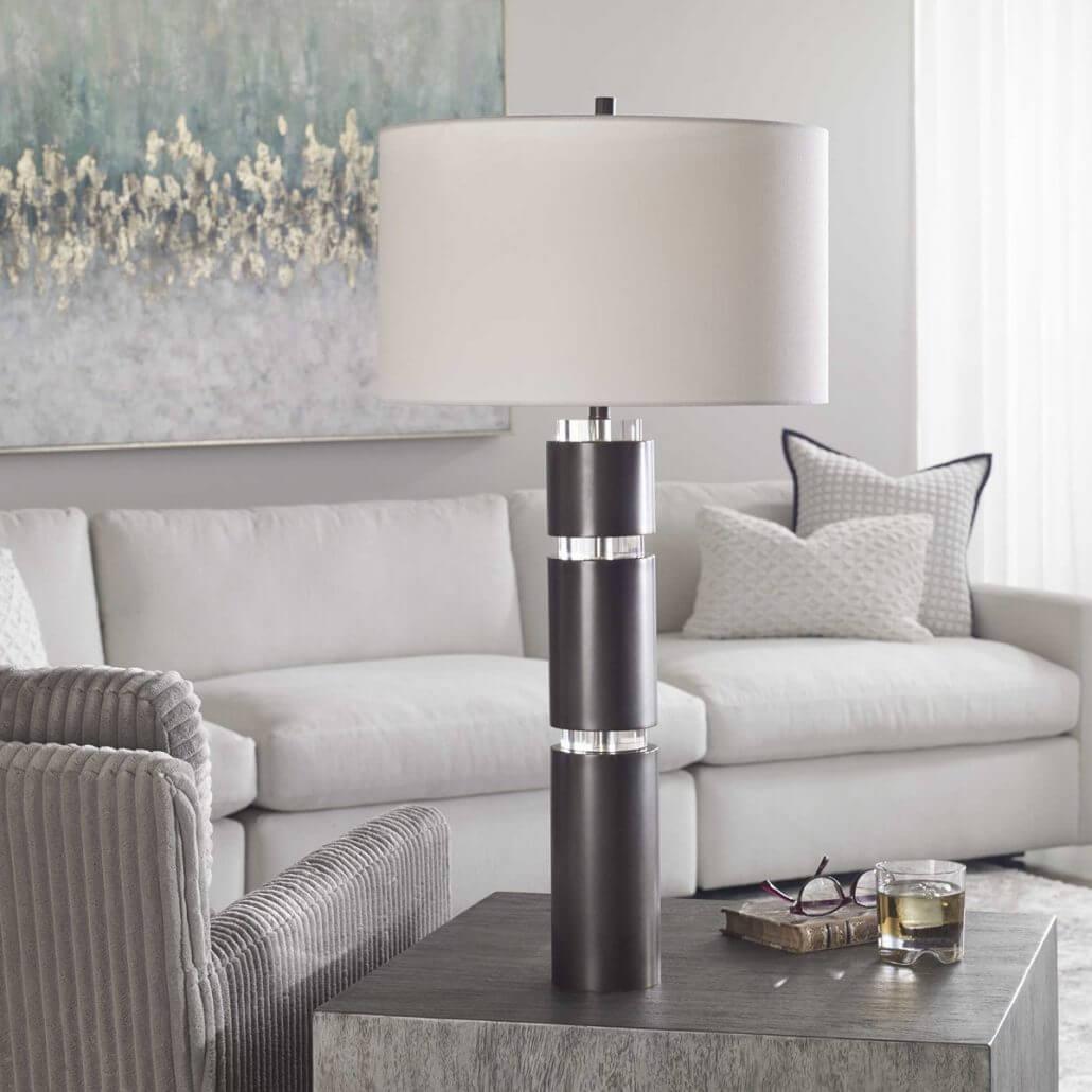 Jefferson Steel and Crystal Modern Lamp by Carolyn Kinder International.