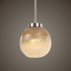 Melissa Distressed Amber Glass Pendant by Carolyn Kinder.