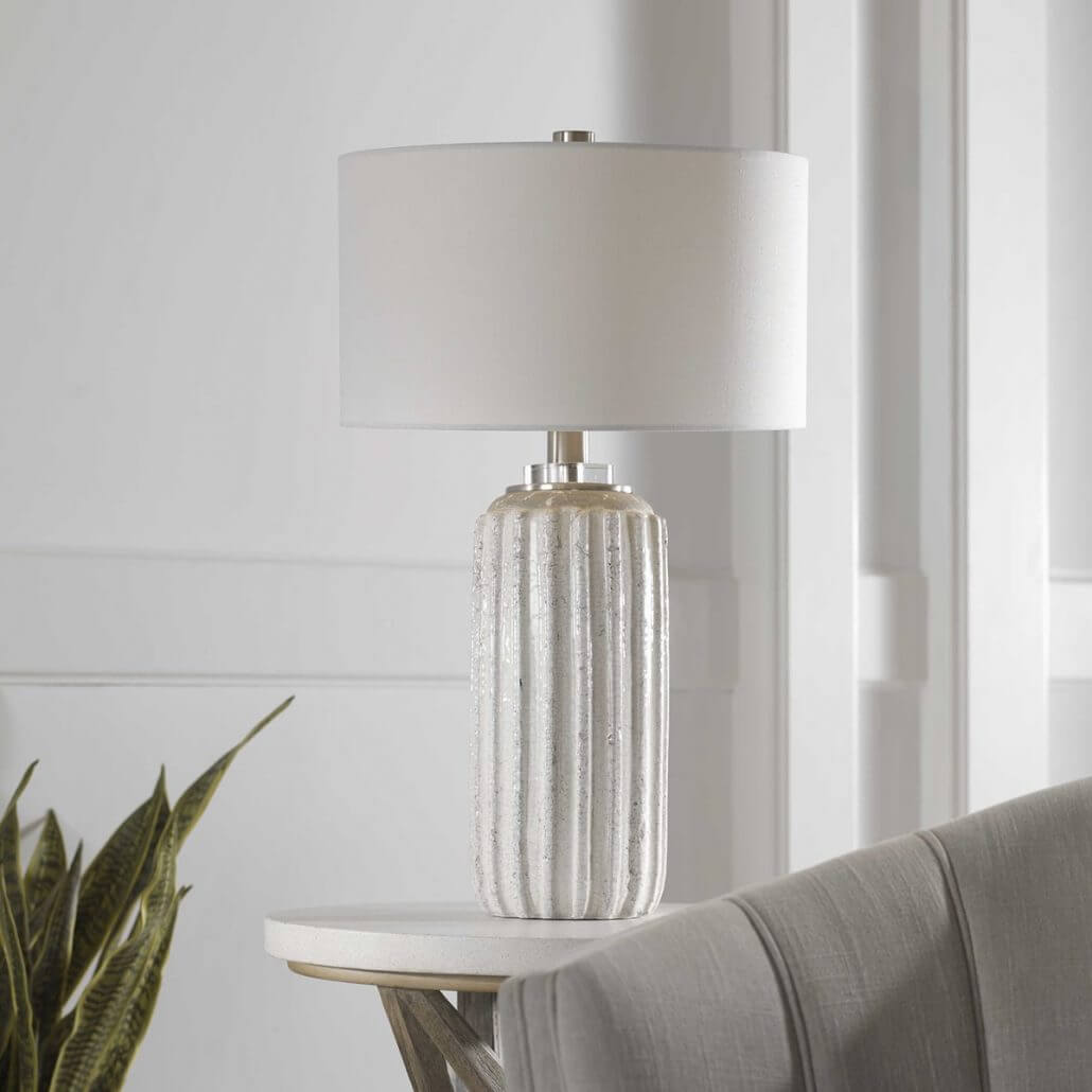 Azariah Distressed White Table Lamp by Carolyn Kinder.
